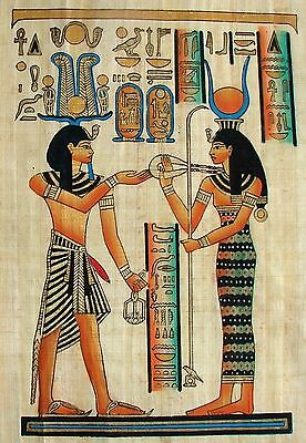Egyptian Hand-painted Papyrus Artwork: Ramesses III Offering to Hathor IMPORTED