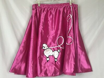 Satin Pink Poodle Skirt 50s Halloween Costume Pink Lady Womens XL