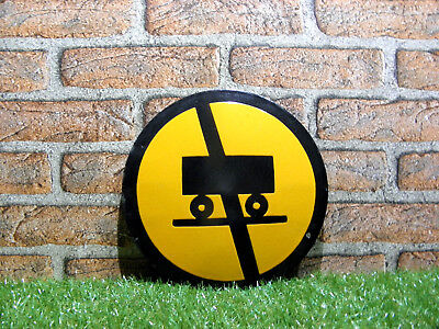 Vintage Tin Porcelain Enamel Sign Warning Industrial 1960s Round Platе