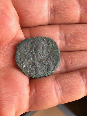 Byzantine Bronze Anonymous Follis:christ/greek Inscription. Large Flan!