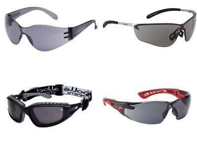 Smoked Dark Lens Safety Specs Glasses by BOLLE Silium2, Tracker2, Bandido Rush.