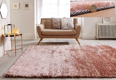 Silky Soft Fluffy Pile Blush Pink Shaggy Crushed Velvet Effect Rug