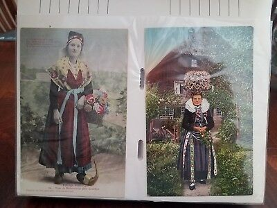 Vintage Group of 176 Early 1900's Foreign Postcards in Album