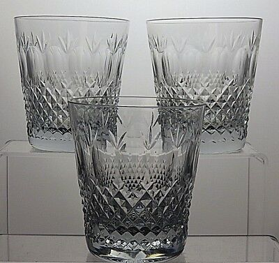 "Stunning Cut Glass Crystal Whisky 14 Oz Tumblers Set Of 3 - 4 1/4"" Tall"