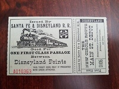 Early Santa Fe and Disneyland Railroad Ticket 1950's Nice Condition