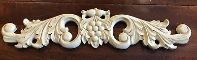 """20"""" Hand Carved French Country Wood Cream W/taupe Glaze Topper Pediment Acanthus"""