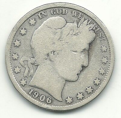 A Very Good/fine 1906 P Barber Silver Half Dollar Coin-May605