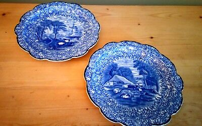 Antique James Kent, Fenton, Ye Olde Foley Pair of Plates, Great Condition