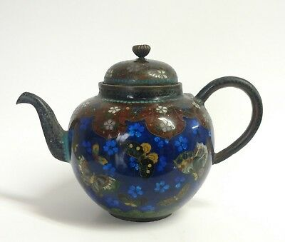 Antique Japanese Cloisonne Teapot with butterfly, Meiji Period