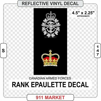 CAF Rank Epaulette Reflective Decal Canadian Forces Sticker Warrant Officer S147