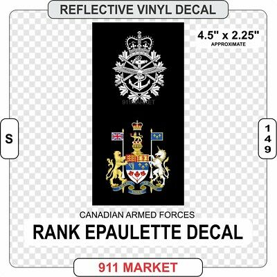 CAF Rank Epaulette Reflective Decal Canadian Sticker Chief Warrant Officer S 149