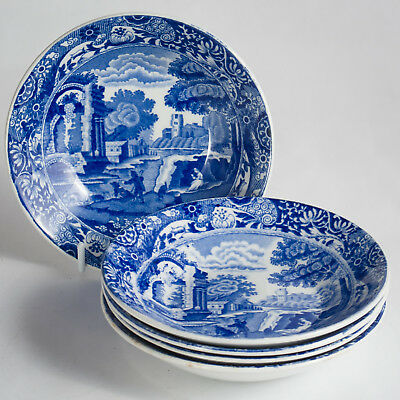 """Spode Italian 5 Small Bowls 4.5"""" Dip Jam Butter Dishes Blue Oval Vintage"""