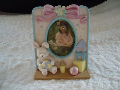 """Euc Small Picture Frame For Kids Nursery W/ Bunny ,holds 2 1/2 """"x 3"""" Photo"""