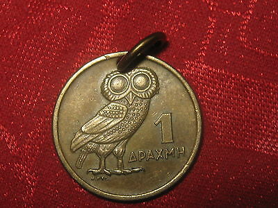 20Mm Greek Greece Athena Wisdom Owl Coin Gold Tone Charm Pendant Necklace