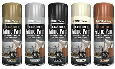 Flexible Gold Silver Ivory Brown Fabric Spray Paint Leather Vinyl 5 Colour 200ml