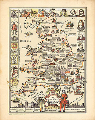 The Story Map of England 1936 75cm x 59.8cm High Quality Art Print