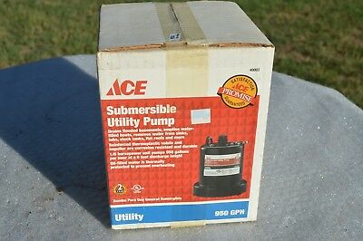 Ace Submersible Utility Pump 1/6 HP, Up to 950 GPM