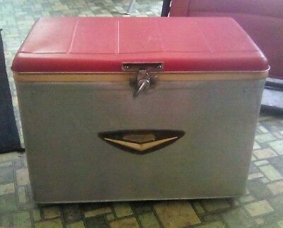 Rare Vintage 1950's Baseball's Ted Williams Aluminum Cooler Red Lid Sears