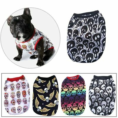 Pet Puppy Skull Printed Cotton Costumes Dog Cat Casual Vest T-shirt Clothes New-
