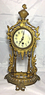 Old Vintage Antique German Metal Mantel Art Nouveau CLOCK Germany Ornate Flowers