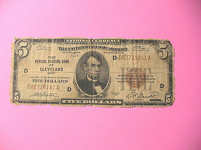1929 $5 Federal Reserve Bank Note Cleveland Frieiberg #1850-D