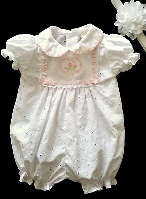 Vintage Baby Togs Baby Girl White Pink Eyelet Bubble Romper Size 3-6 Months