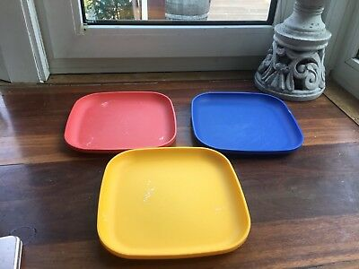 Tupperware Picnic Snack Plates Kids X 3 Stunning Colours *free Post*