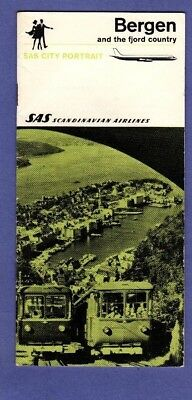 SAS Scandinavian Airlines Bergen & Fjord Country City Portrait Travel Brochure