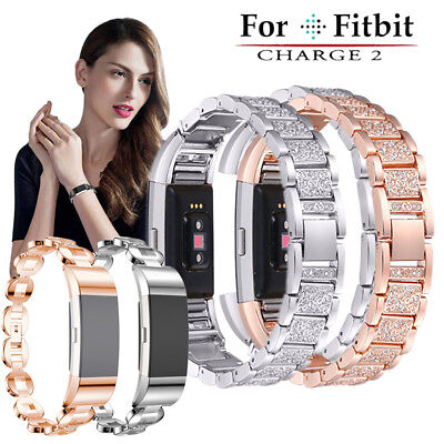 For Fitbit Charge 2 Smart Watch Crystal Stainless Steel Watch Band Strap Wrist