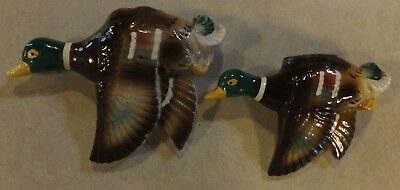 "Vtg Pair Flying Mallard Ducks Birds Wall Pockets Japan 4.75"" & 5.5"" Cabin Decor"