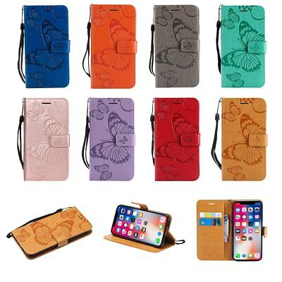 Magnetic Butterfly Case Leather Card Wallet Cover for iPhone X 7 8 6S 5S Plus TU