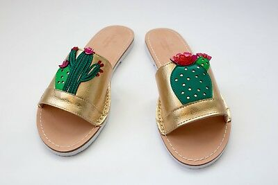 cdd27dc0231a Kate Spade metallic gold iguana cactus leather slide sandals size 9.5M
