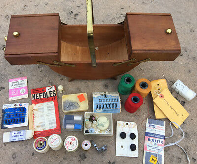 Vintage Wooden Sewing Box 1960s + Huge Lot of Vintage Sewing Supplies & Thread