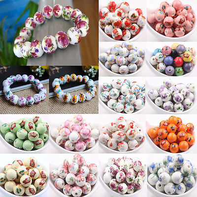 10X Chinese Flower Porcelain Loose Beads Round Spacer Findings DIY Craft Gifts