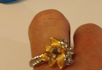 Vintage Sterling  Genuine Diamond Calla Lilly Ring Size 9.5