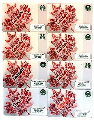 Lot of 8 STARBUCKS CARD CANADA DAY 2014 MAPLE LEAF NEW