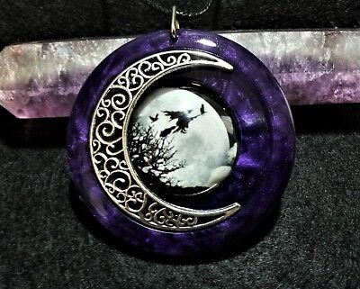 Witch and Moon Pendant, Purple, Wiccan Jewelry, Pagan, Witchcraft, Witch and Cat