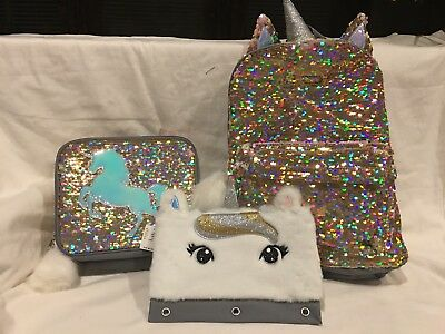 NWT Justice Girls Unicorn Flip Sequins Backpack  Lunch Tote & Pencil Case