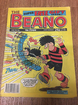 Beano Comic No 2500 June 16th 1990, Special Number, Vintage UK Dennis the Menace