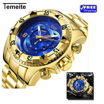 TEMEITE Mens Fashion 2018 Creative Big Dial Luxury Full Steel watch Waterproof