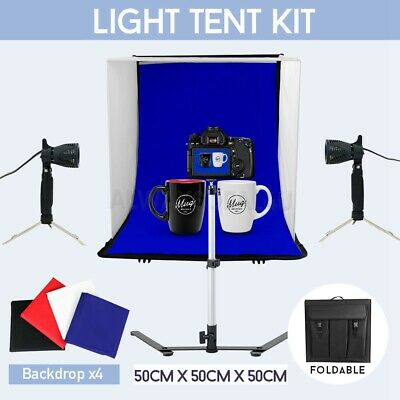 Large 50cm Photo Studio Soft Box Light Tent Cube Softbox Lighting &4 Backgrounds