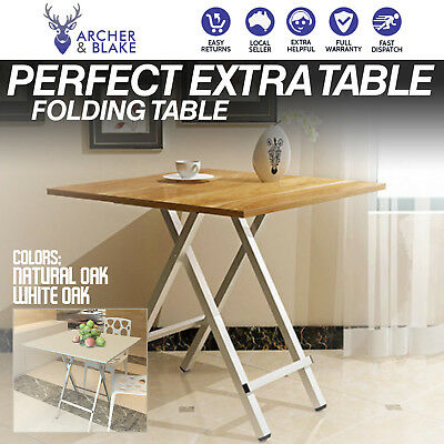 Modern Portable Folding Table Steel Wood Square Dining Coffee Collapsible Picnic