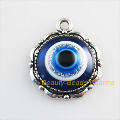 3 New Charms Round Flower Blue Eye Resin Pendants Tibetan Silver Tone 18.5x22mm