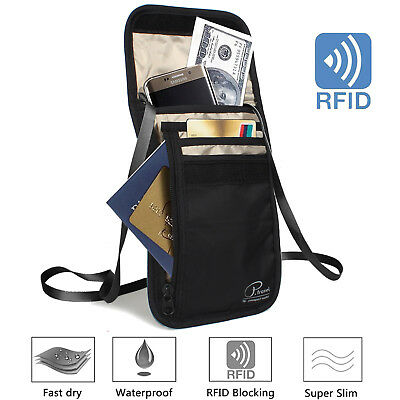 RFID Blocking Passport Holder Neck Stash Pouch Security Travel Wallet Bag