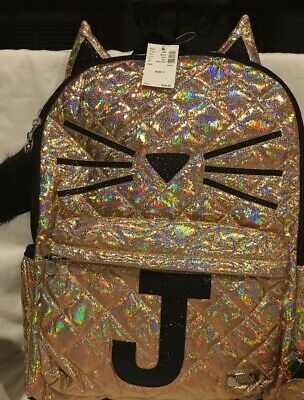 NWT Justice  Gold Cat Quilted Style Letter - J Backpack Back To School Bundle 4