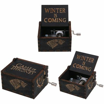 Black Music Box Game Of Thrones Engraved Wooden Music Box Craft Collectible Toy