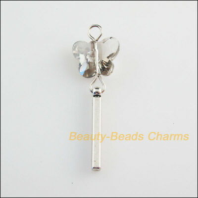 5 New Charms Crystal Glass Animal Butterfly Pendants Tibetan Silver Tone 15x44mm
