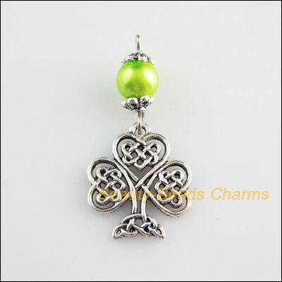 5 New Charms Green Glass Round Beads Heart Tree Pendants Tibetan Silver Tone