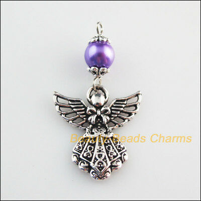 4 New Charms Purple Glass Round Beads Angel Pendants Tibetan Silver Tone