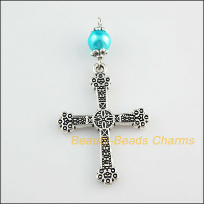 3 New Charms Sky Blue Glass Round Beads Cross Pendants Tibetan Silver Tone